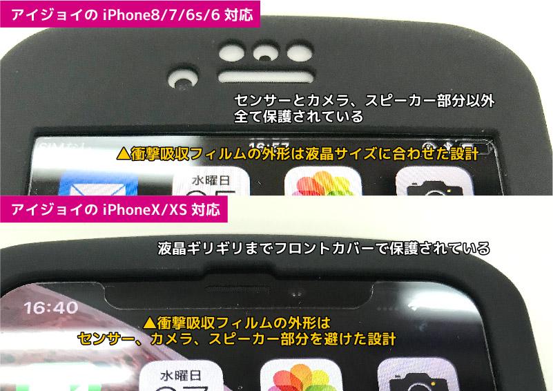 全面衝撃吸収のスマホケース アイジョイをつけた上部のクローズアップ(iPhone8とiPhoneX)