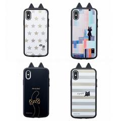 全面衝撃吸収のスマホケースアイジョイiPhoneX対応KUSUKUSUネコ耳つきデザイン4種